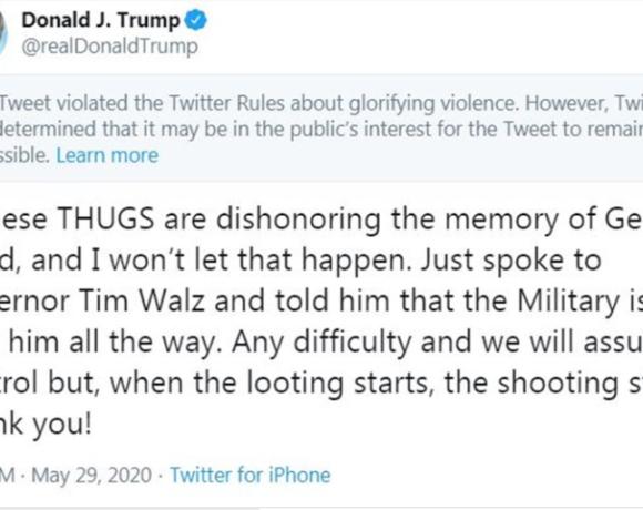 Στην αντεπίθεση το Twitter: «Μπλόκαρε» ανάρτηση του Τραμπ για την υπόθεση Τζορτζ Φλόιντ