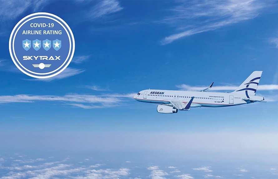 AEGEAN Achieves 4-star Covid-19 Airline Safety Rating by Skytrax