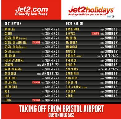 Jet2: Νέα βάση στο Μπρίστολ για το 2021 με 33 προορισμούς | Καλαμάτα και Λέσβος για πρώτη φορά!!!
