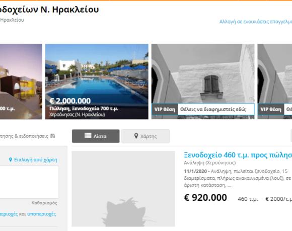 Πωλητήριο σε 272 ξενοδοχεία της Κρήτης!- Πωλούνται και μεγάλες μονάδες