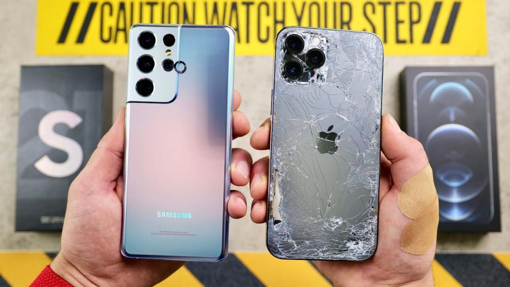 iPhone 12 Pro Max vs Galaxy S21 Ultra [drop test]