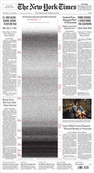 New York Times : Συγκλονιστικό πρωτοσέλιδο για τα 500