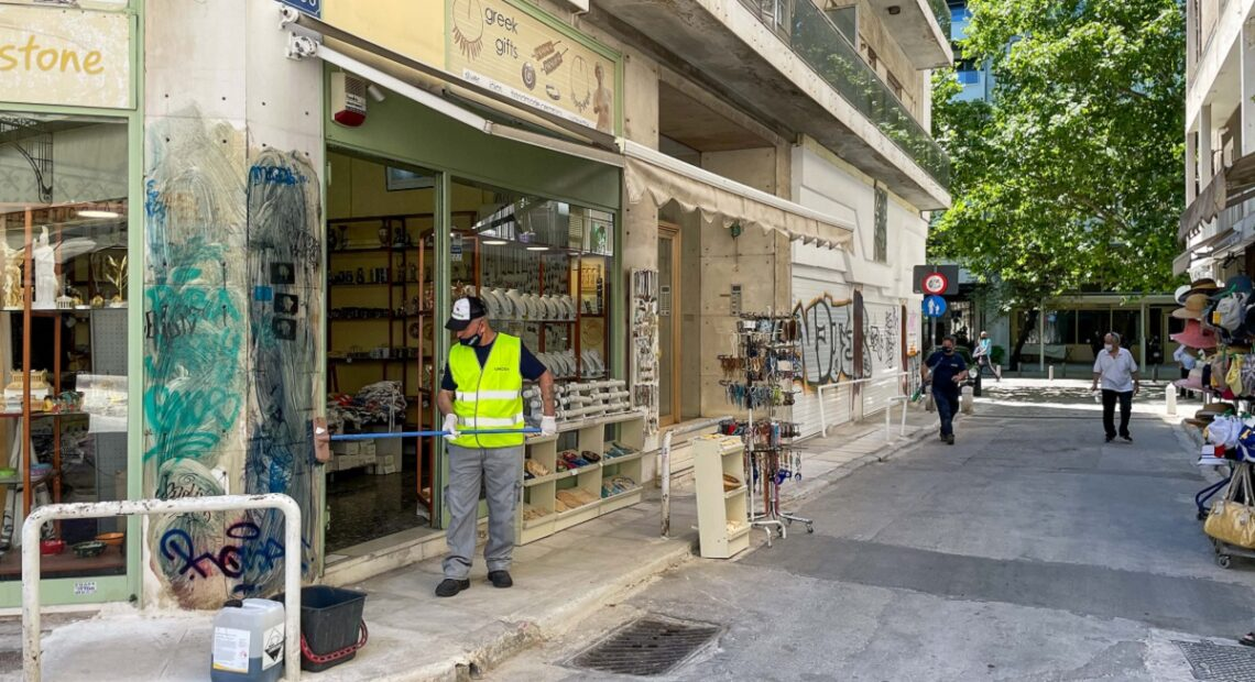 Athens' Plaka District Cleaned From Graffiti
