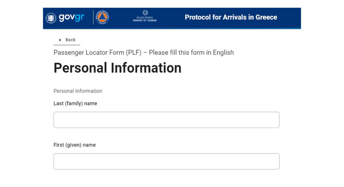 Travelers to Greece can Submit PLF Form Anytime Before Flight