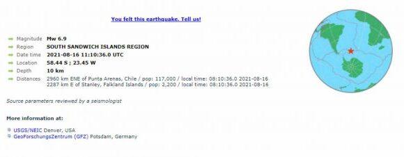 Ισχυρός σεισμός 6,9 Ρίχτερ στα Νησιά Σάντουιτς