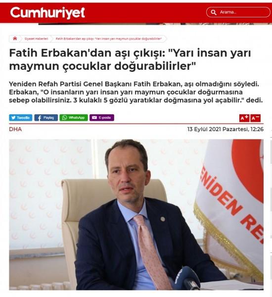 Τουρκία – Σοκάρει ο γιος πρώην πρωθυπουργού – «Δεν κάνω το εμβόλιο για να μην γεννηθούν όντα με 3 αυτιά και 5 μάτια»